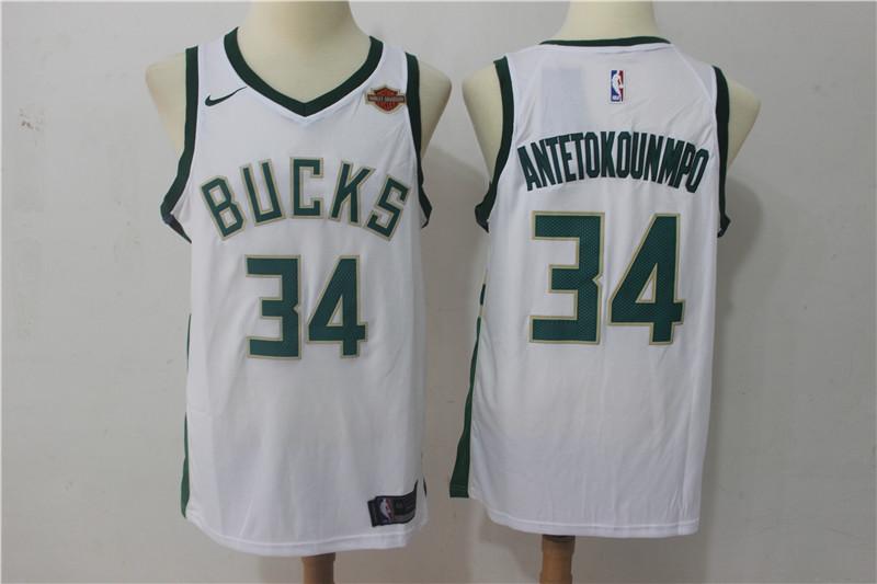 Bucks 34 Giannis Antetokounmpo White Nike Swingman Jersey
