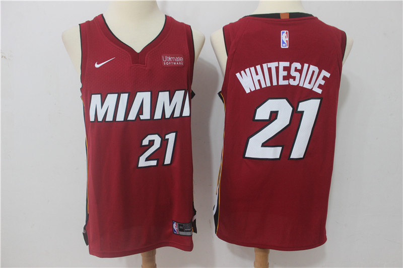 Heat 21 Hassan Whiteside Red Nike Authentic Jersey