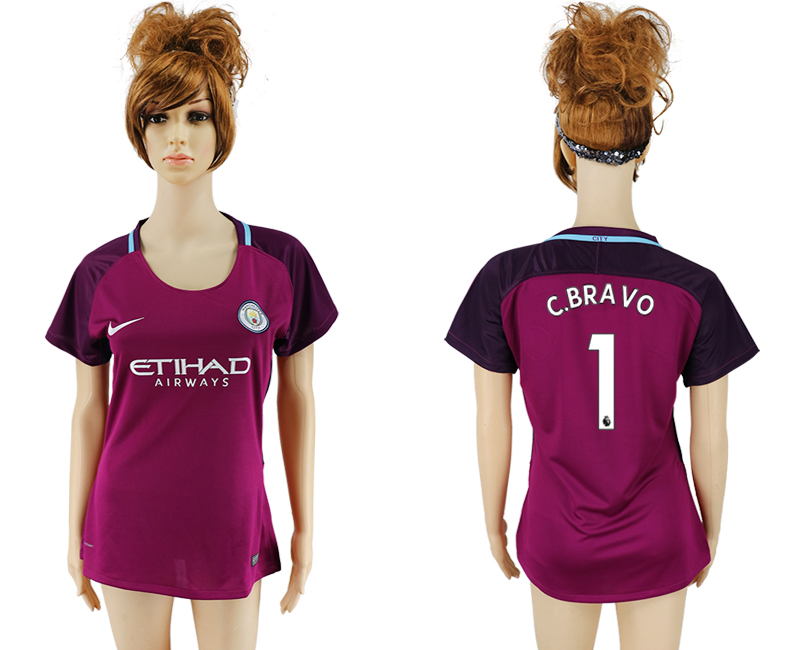 2017-18 Manchester City 1 C. BRAVO Away Women Soccer Jersey