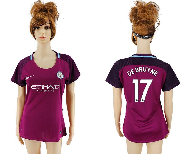 2017-18 Manchester City 17 DE BRUYNE Away Women Soccer Jersey