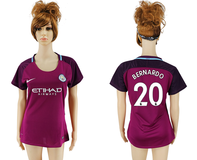 2017-18 Manchester City 20 BERNARDO Away Women Soccer Jersey