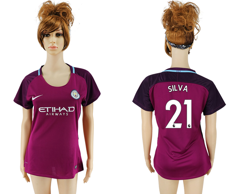 2017-18 Manchester City 21 SIL VA Away Women Soccer Jersey