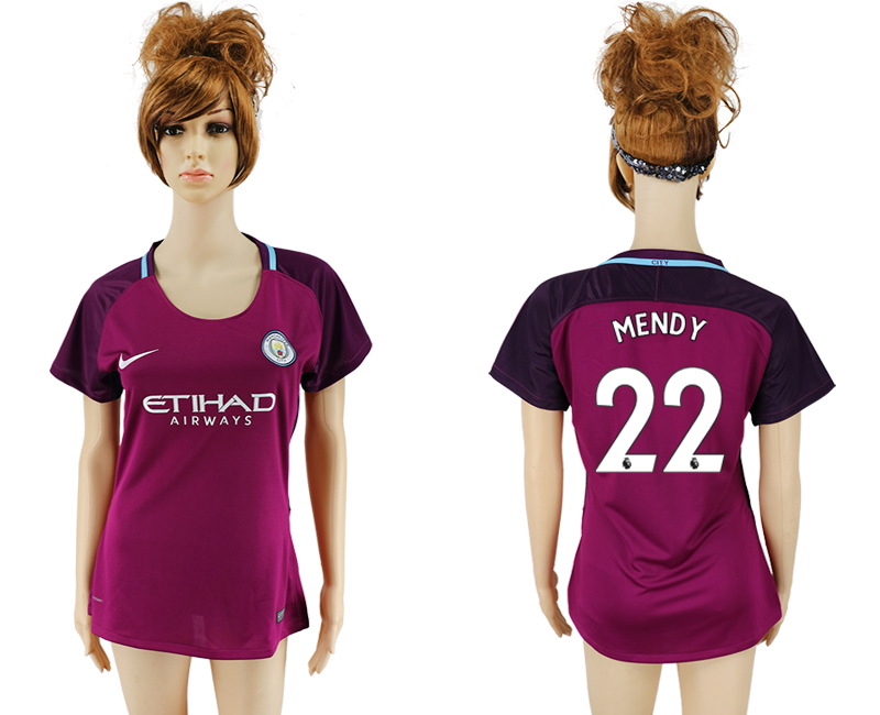 2017-18 Manchester City 22 MENDY Away Women Soccer Jersey