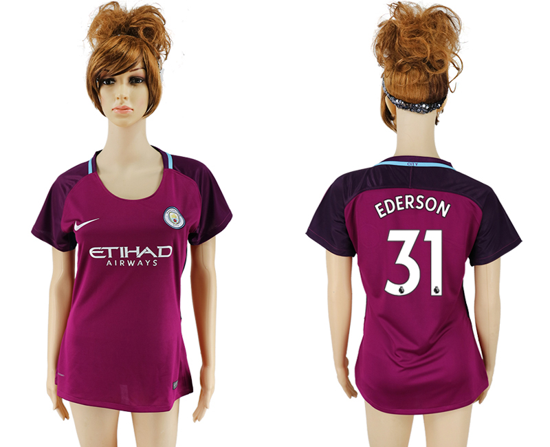 2017-18 Manchester City 31 EDERSON Away Women Soccer Jersey