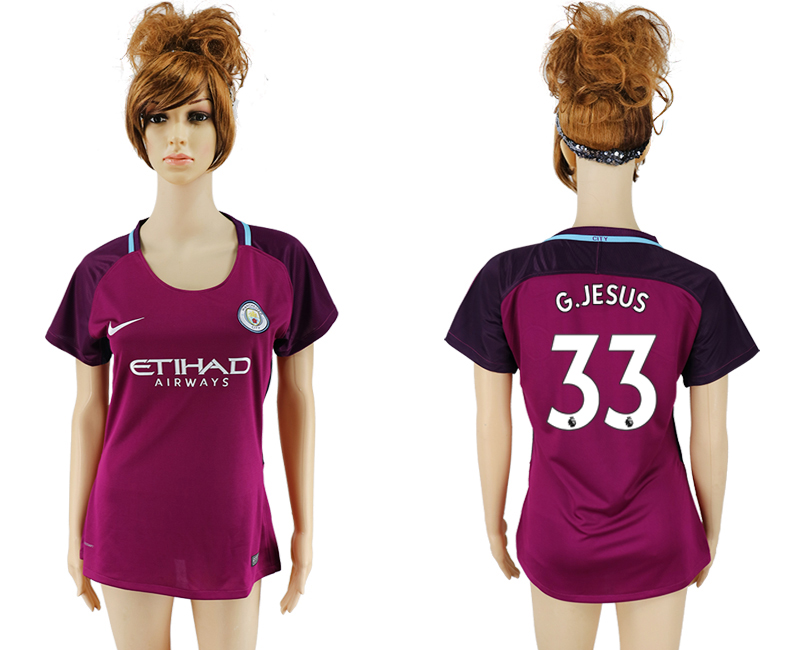 2017-18 Manchester City 33 G. JESUS Away Women Soccer Jersey