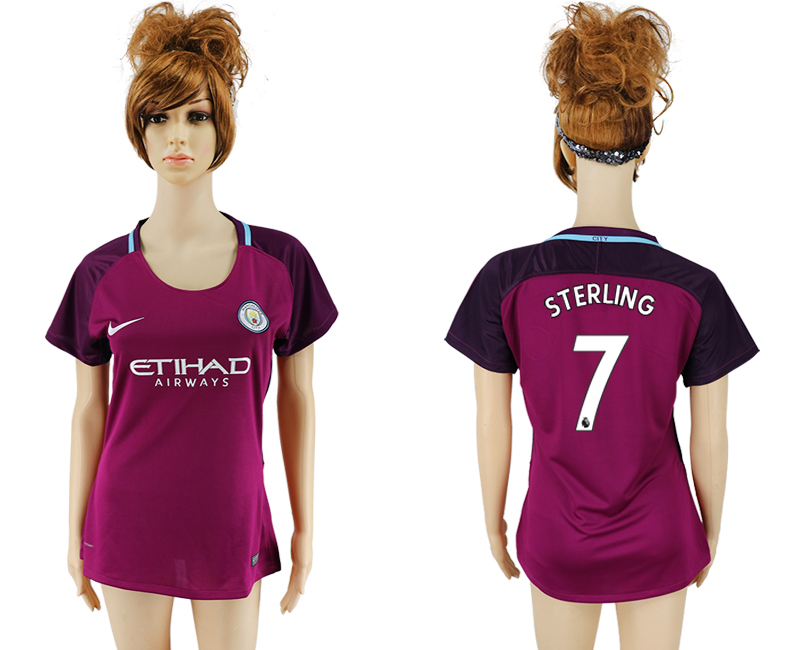 2017-18 Manchester City 7 STERLING Away Women Soccer Jersey