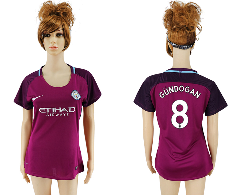 2017-18 Manchester City 8 GUNDOGAN Away Women Soccer Jersey