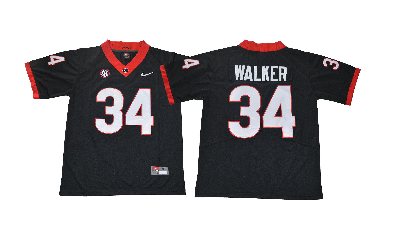 Georgia Bulldogs 34 Herchel Walker Black College Football Jersey