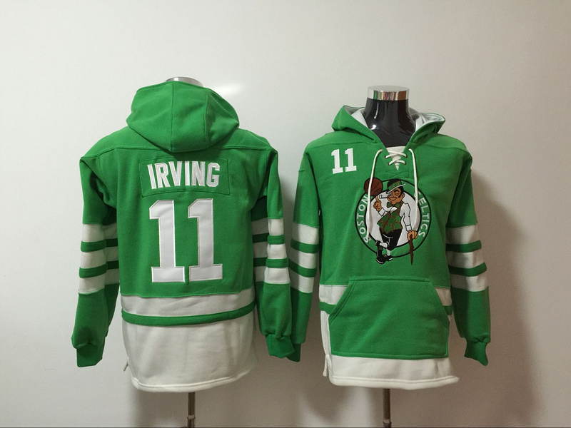 Celtics 11 Kyrie Irving Green All Stitched Hooded Sweatshirt
