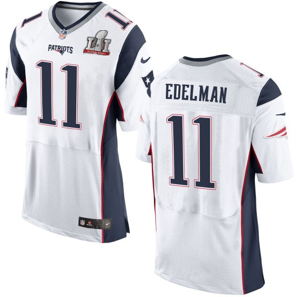 Nike Patriots 11 Julian Edelman White 2017 Super Bowl LI Elite Jersey