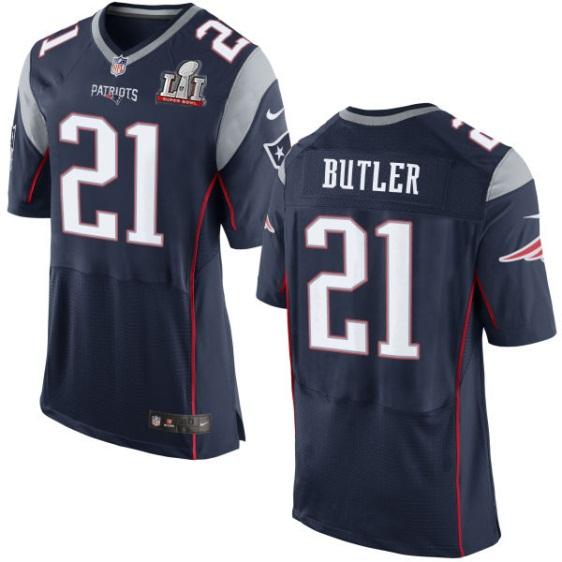 Nike Patriots 21 Malcolm Butler Navy 2017 Super Bowl LI Elite Jersey