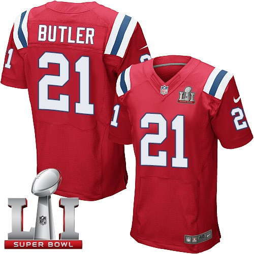 Nike Patriots 21 Malcolm Butler Red 2017 Super Bowl LI Elite Jersey