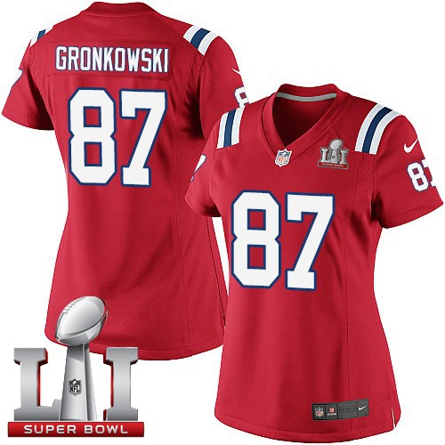 Nike Patriots 87 Rob Gronkowski Red Women 2017 Super Bowl LI Game Jersey
