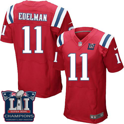 Nike Patriots 11 Julian Edelman Red 2017 Super Bowl LI Champions Elite Jersey