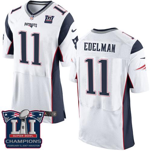 Nike Patriots 11 Julian Edelman White 2017 Super Bowl LI Champions Elite Jersey