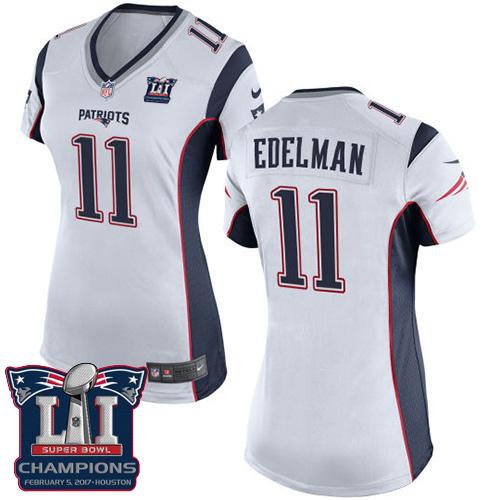 Nike Patriots 11 Julian Edelman White 2017 Super Bowl LI Champions Women Game Jersey