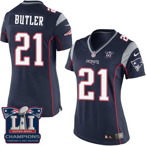 Nike Patriots 21 Malcolm Navy 2017 Super Bowl LI Champions Women Game Jersey