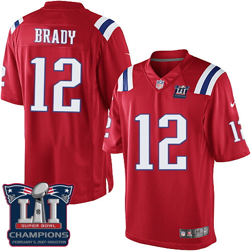 Nike Patriots 12 Tom Brady Red 2017 Super Bowl LI Champions Youth Game Jersey