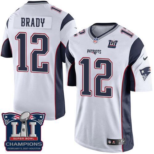 Nike Patriots 12 Tom Brady White 2017 Super Bowl LI Champions Youth Game Jersey
