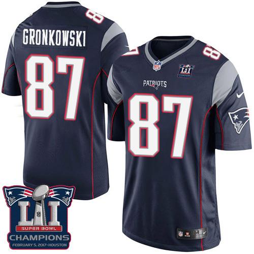 Nike Patriots 87 Rob Gronkowski Navy 2017 Super Bowl LI Champions Youth Game Jersey