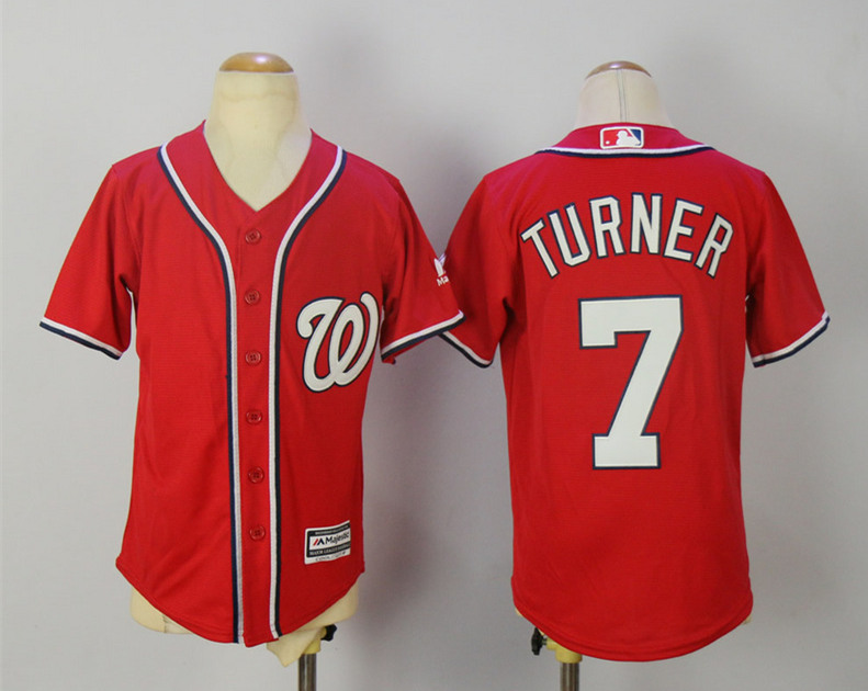 Nationals 7 Trea Turner Red Youth Cool Base Jersey