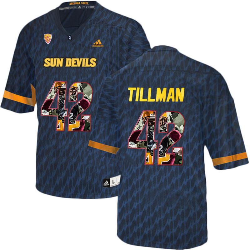 Arizona State Sun Devils 42 Pat Tillman Black Team Logo Print College Football Jersey2