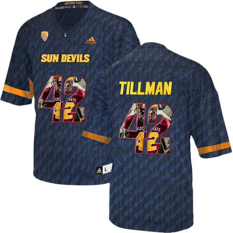 Arizona State Sun Devils 42 Pat Tillman Black Team Logo Print College Football Jersey3
