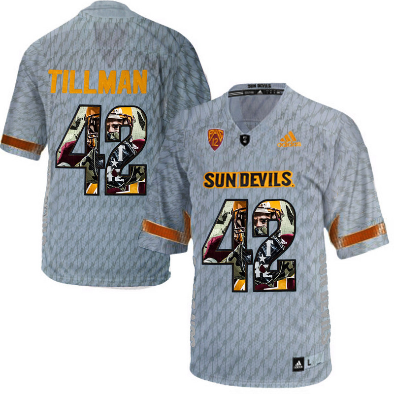 Arizona State Sun Devils 42 Pat Tillman Gray Team Logo Print College Football Jersey