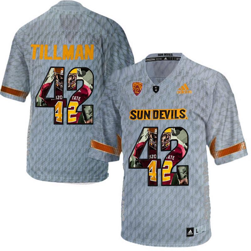 Arizona State Sun Devils 42 Pat Tillman Gray Team Logo Print College Football Jersey2