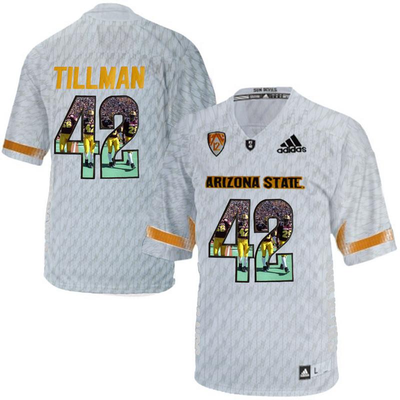 Arizona State Sun Devils 42 Pat Tillman Ice Team Logo Print College Football Jersey3