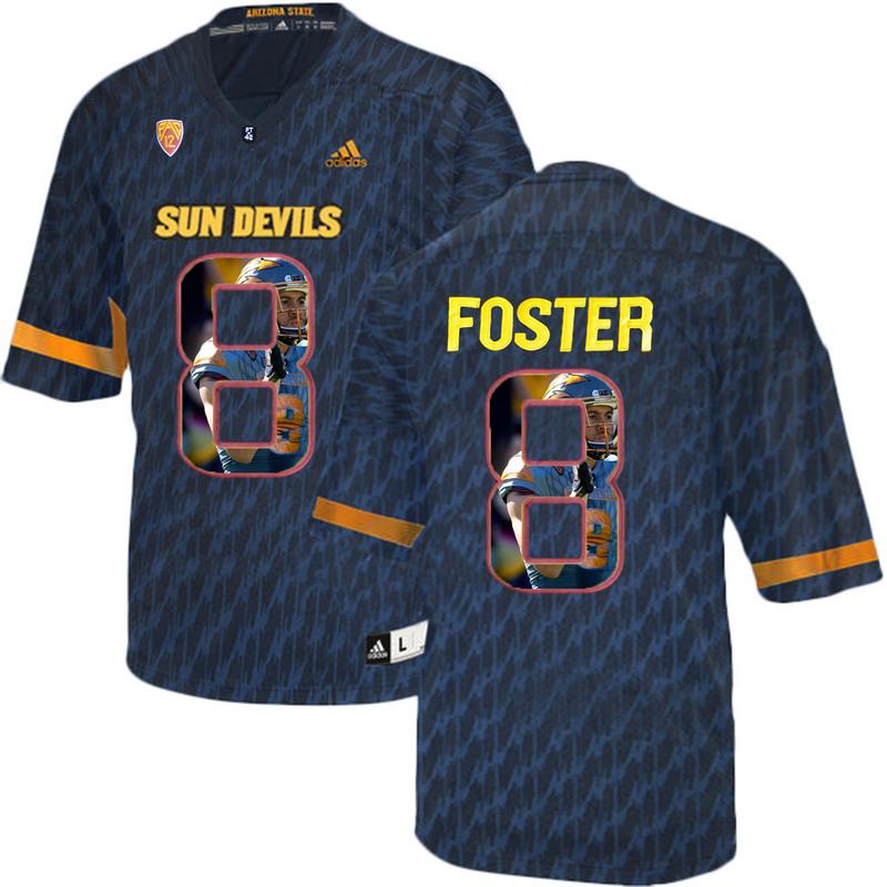 Arizona State Sun Devils 8 D.J. Foster Black Team Logo Print College Football Jersey