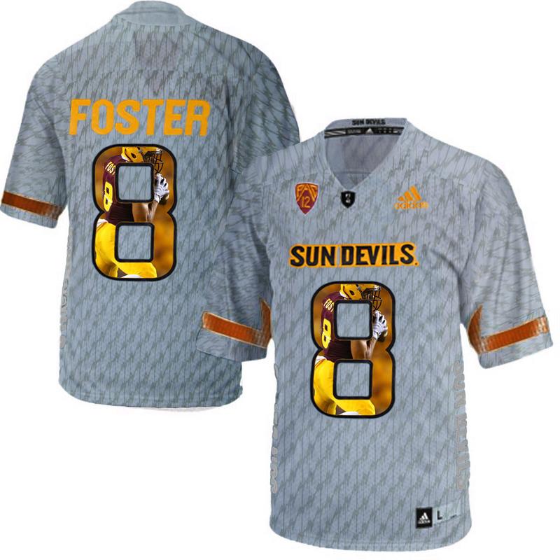 Arizona State Sun Devils 8 D.J. Foster Gray Team Logo Print College Football Jersey8