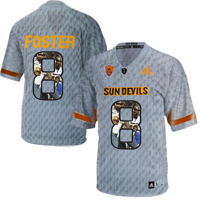 Arizona State Sun Devils 8 D.J. Foster Gray Team Logo Print College Football Jersey9