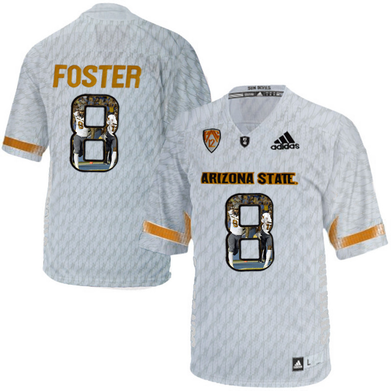 Arizona State Sun Devils 8 D.J. Foster Ice Team Logo Print College Football Jersey7