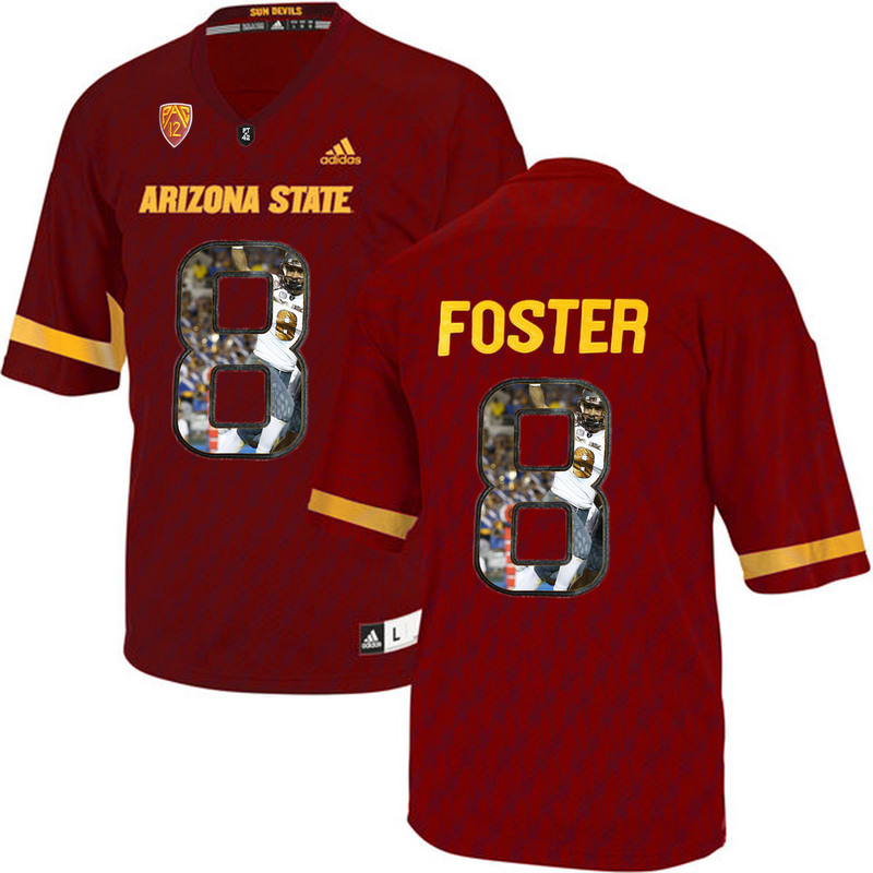 Arizona State Sun Devils 8 D.J. Foster Red Team Logo Print College Football Jersey4