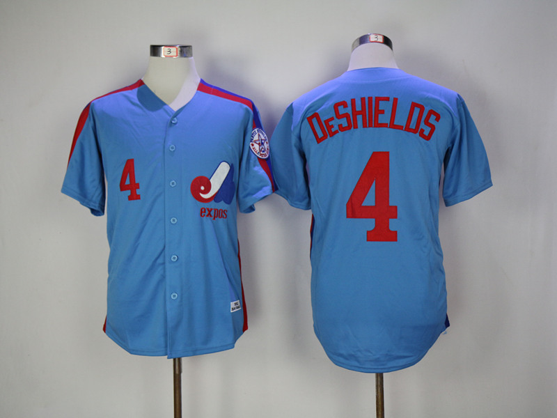 Expos 4 Delino DeShields Blue Throwback Jersey