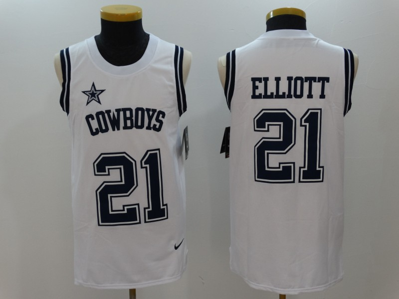 Nike Cowboys 21 Ezekiel Elliott White Color Rush Name & Number Tank Top