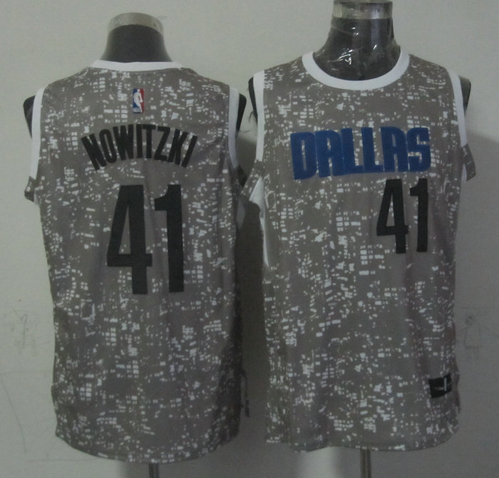 Mavericks 41 Dirk Nowitzki Gray City Luminous Jersey