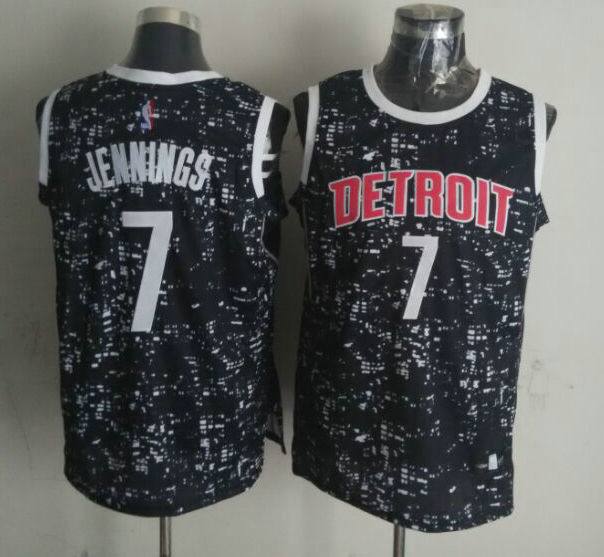 Pistons 7 Brandon Jennings Black City Luminous Jersey