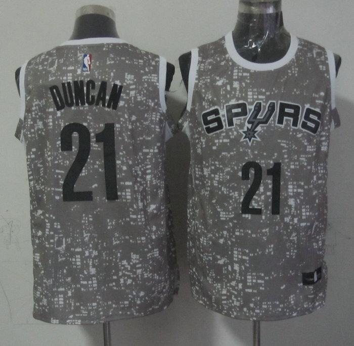 Spurs 21 Tim Duncan Gray City Luminous Jersey