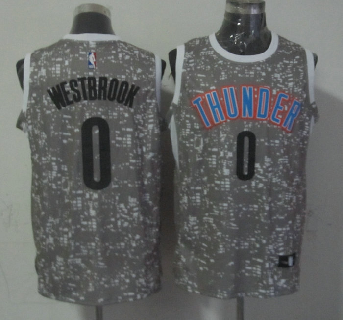 Thunder 0 Russell Westbrook Gray City Luminous Jersey
