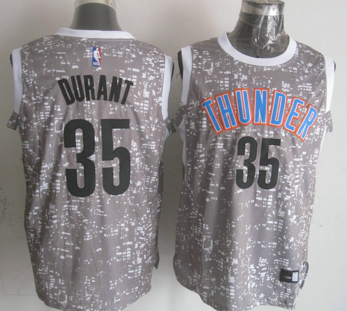 Thunder 35 Kevin Durant Gray City Luminous Jersey