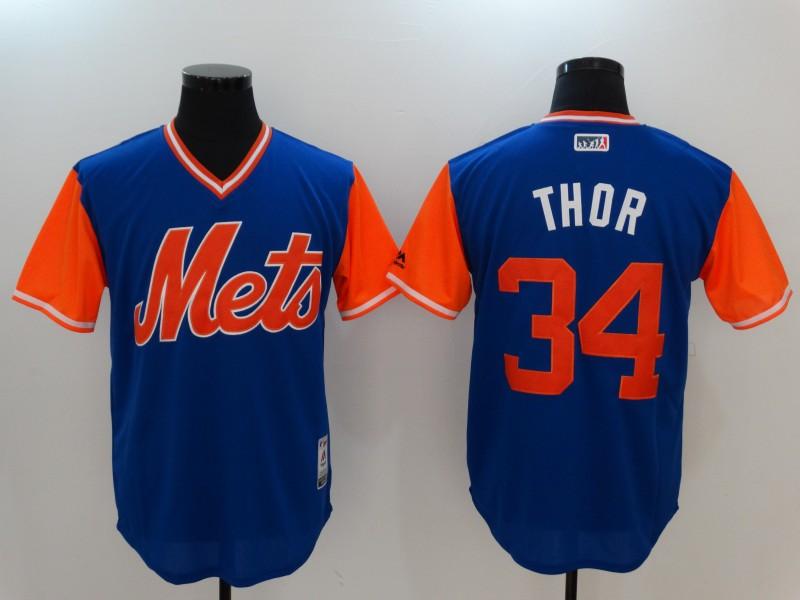 Mets 34 Noah Syndergaard Thor Majestic Royal 2017 Players Weekend Jersey