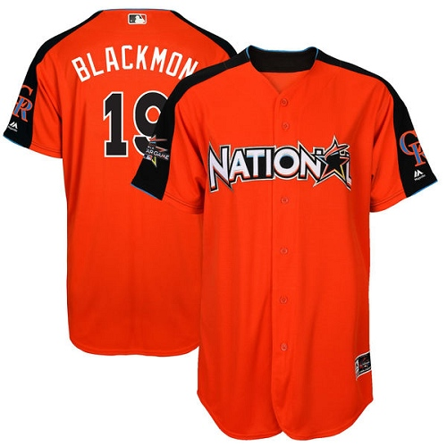 National League Rockies 19 Charlie Blackmon Orange 2017 MLB All-Star Game Home Run Derby Player Jersey