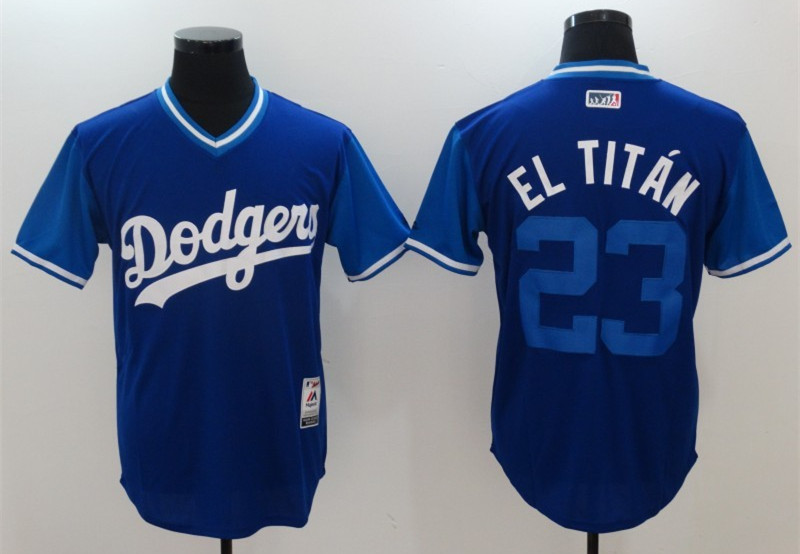 Dodgers 23 Adrian Gonzalez El Titan Majestic Royal 2017 Players Weekend Jersey