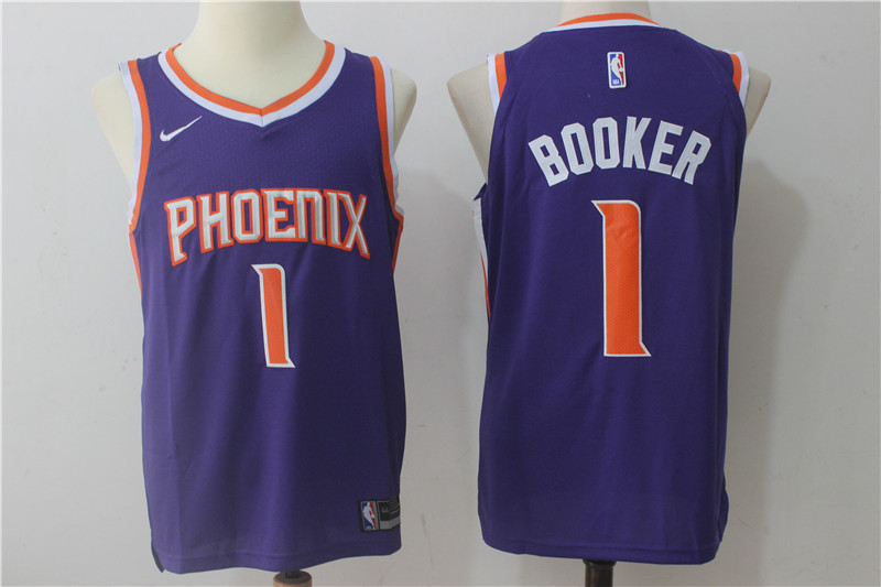 Suns 1 Devin Booker Purple Nike Authentic Jersey(Without the sponsor logo)