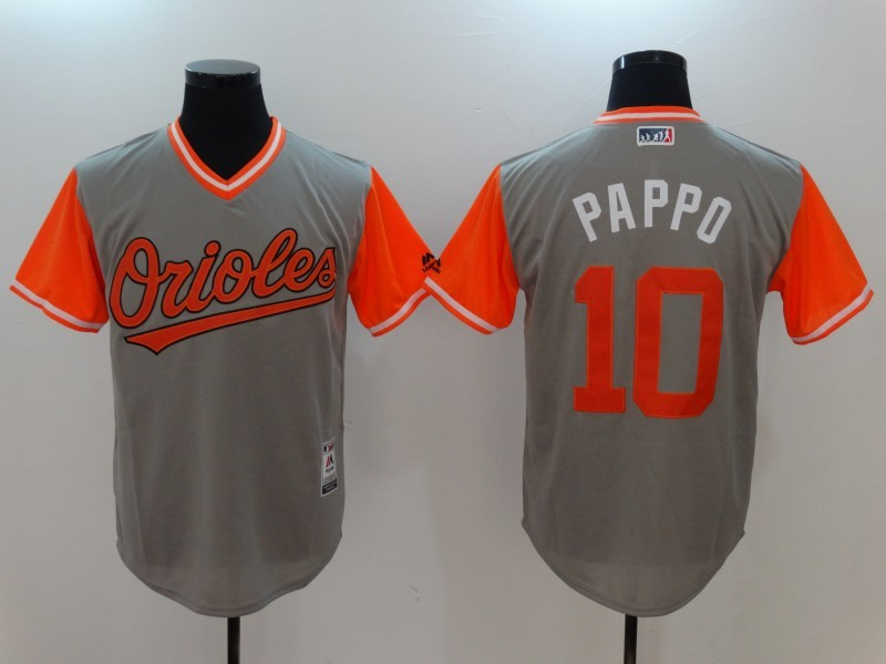 Orioles 10 Adam Jones Pappo Gray 2017 Players Weekend Jersey