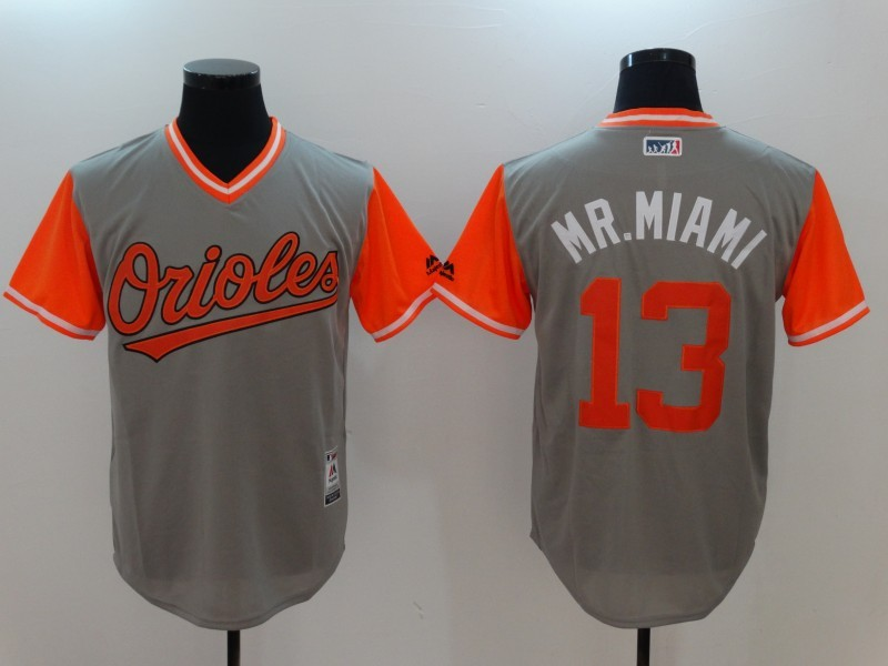 Orioles 13 Manny Machado Mr. Miami Majestic Gray 2017 Players Weekend Jersey
