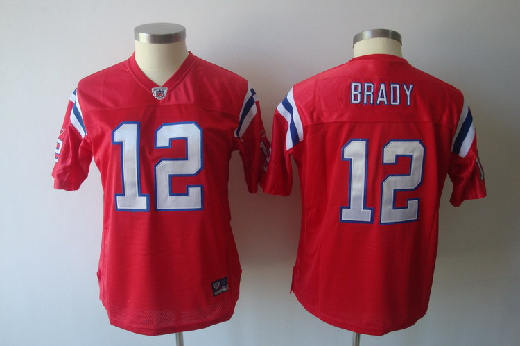 Patriots 12 Tom Brady Red Women Jersey