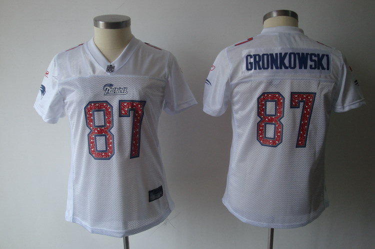 Patriots 87 Rob Gronkowski White Women Jersey